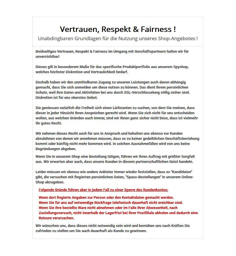 Beidseitiges Vertrauen, Respekt & Fairness